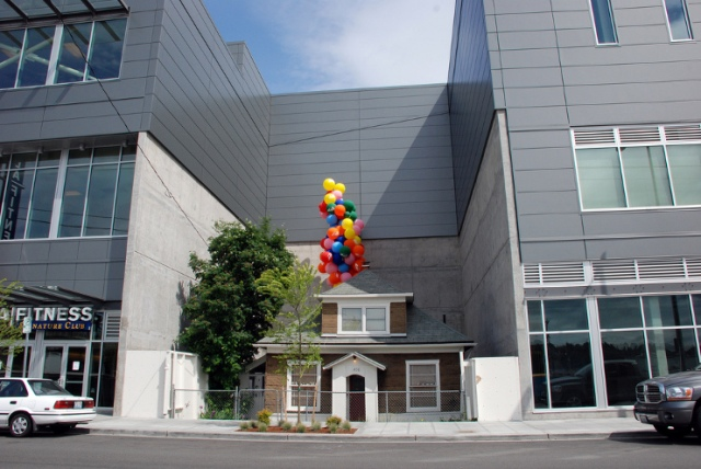 above: a publicity stunt for pixar's latest saw balloons attached to the house